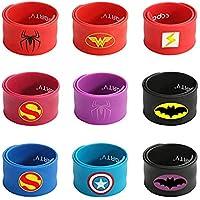 FancyDressWale Superhero Slap Bracelet for Kids Boys & Girls Birthday Party Supplies Favors Mix Super Heroes Pack of 9