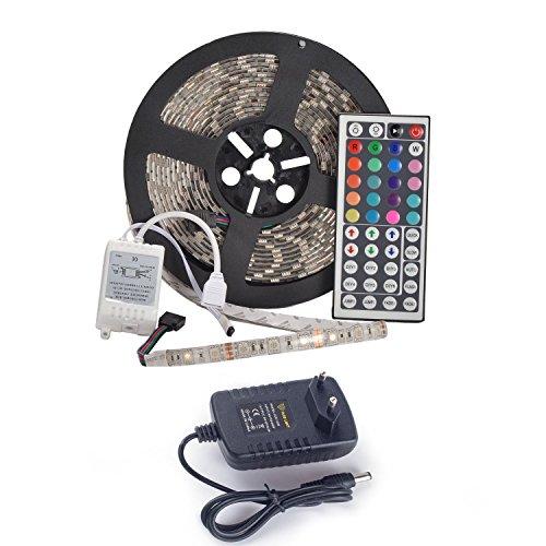 5m SMD 5050 Strisce LED Luce Impermeabile Flessibile Con Alimentatore E Telecomando 44 Keys Incluso