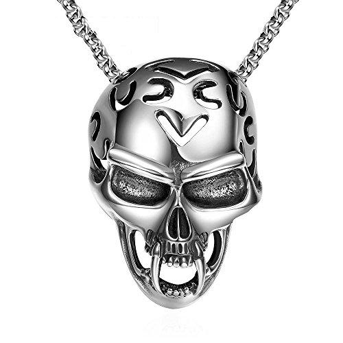 Aoligei Punk-Torte Retro-geheimnisvolle Blut Vampir Schädel Kopf Titan Halskette Schmuck