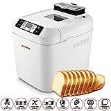 AUCMA Automatic Breadmaker Gluten Free Menu Bread Machine 2LB, 12 Preset Functions Fast-Bake Breadmaker Beginner Friendly Bakery Bread Maker 2LB, 550W, White