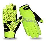 FDX, winddichte Fahrrad-Handschuhe, mit Gel gepolstert, Touchscreen-kompatibel L gelb