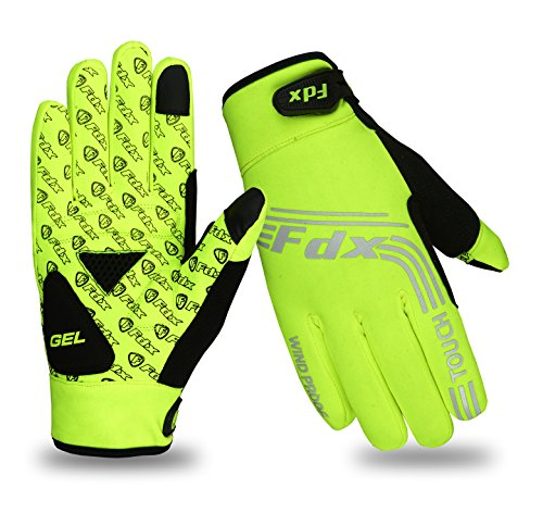 FDX, winddichte Fahrrad-Handschuhe, mit Gel gepolstert, Touchscreen-kompatibel XL gelb