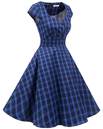 Bbonlinedress 1950er Vintage Retro Cocktailkleid Rockabilly V-Ausschnitt Faltenrock Navy Plaid S - 2