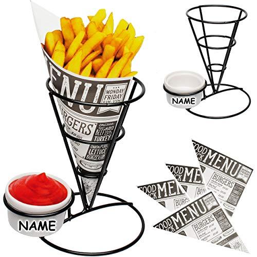 alles-meine.de GmbH 2 Stück _ Pommeshalter / Nachos & Fingerfood Halter - Metall - inkl. Saucen & Dip Schale + 10 Pommestüten - inkl. Name - 17 cm _ Pommes Frites - Tüten / Tüten..