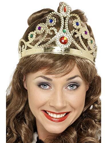 Halloweenia - Kostüm Accessoires Zubehör mittelalterliche Juwelenbesetzte Damen Königinnen Krone, perfekt für Karneval, Fasching und Fastnacht, Gold (Toga Party Kostüm Accessoires)