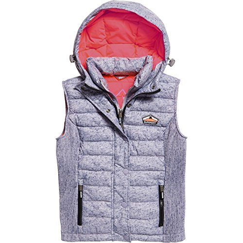 Superdry Damen Jacke FUJI SLIM DOUBLE ZIP VEST , Größe:M, Farben:mid grey slub (Fuji Jacke)