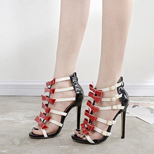 ZYUSHIZ Bow Tie High-Heel Western Die feinen Mit der Rechtschreibprüfung Farbe Schnalle Sandalen Hausschuhe 37EU