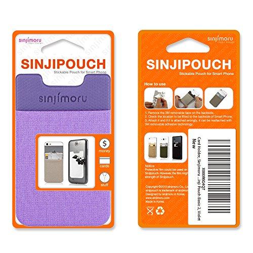 Sinjimoru B2 Smart Wallet (aufklebbarer Kartenhalter), verwendbar als iPhone Wallet / Handy Geldbeutel / Kartenetui für iPhones, iPhone Cases, Android Smartphones. Sinji Pouch Basic 2, Beige. Violett