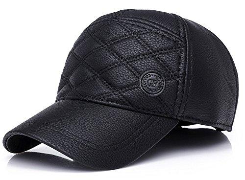 Roffatide Unisex Baseball Kappe Leder Wasserdicht Verstellbar Winter Warm Schirmmützen Golf Cap mit Ohrenklappen Black (Damen Schwarze Leder-baseball-cap)