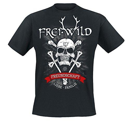 """Frei.Wild - """"15 Jahre / Bone-Skull"""" T-Shirt, Farbe: Schwarz Schwarz"""