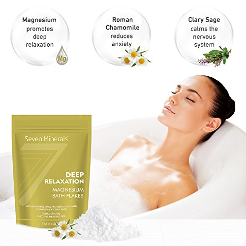 New DEEP RELAXATION Magnesium Chloride Flakes 1.36 Kg – Absorbs Better than Epsom Salt – Unique Full Bath Soak Formula For Stress, Anxiety And Relaxing – With USDA Organic Roman Chamomile & Clary Sage Oils
