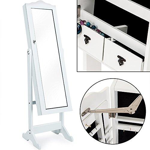Spiegelschrank weiß + Türgelenk + Schubfächer + schwenkbar - Schmuckschrank Schrankspiegel Standspiegel abschließbar - 2