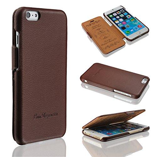 Coin Keeper-Fatto a mano in vera pelle iPhone 5/5S Tunica-100%-Magnete design trasparente in omaggio, Pelle, brown, iPhone 6 Plus
