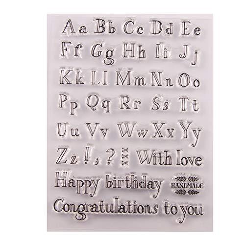ECMQS Happy Birthday Alphabet DIY Transparente Briefmarke, Silikon Stempel Set, Clear Stamps, Schneiden Schablonen, Bastelei Scrapbooking-Werkzeug