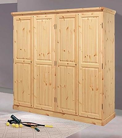 Armadio 4 ante in legno di pino-Colore Noce: Amazon.it: Casa e cucina