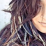 KAZAEE 10 Extensions plumes XXL 20-30 cm 100% naturel pour cheveux + anneaux fixation offerts