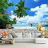 Yirenfeng Benutzerdefinierte Fototapete Blauer Himmel Weiße Wolken Delfine Muscheln Strand Landschaft Fotografie Hintergrund Wand Wohnzimmer Tapeten250X160CM
