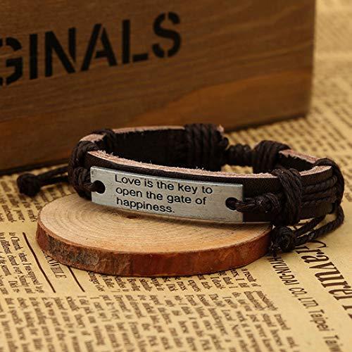 yayoushen Herren Armband, europäischen und amerikanischen Retro-Rindsleder Armband/Englisch Maxim/gewebt Lederarmband (einstellbar) - Englisch-1102