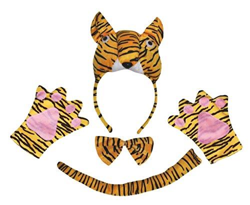 Petitebelle 3D Tiger Stirnband Bowtie Schwanz Handschuhe 4pc Partei-Kostüm für Kinder Einheitsgröße Braun