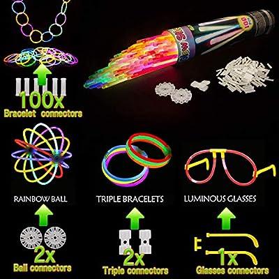 Kimimara Pulseras Luminosas, Varitas Luminosas con Connectors para Pulseras y Bolas, Light Up Toys para Glow Party Supplies de Kimimara