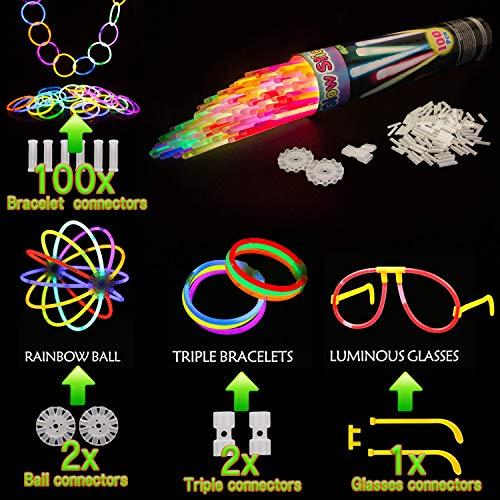 Imagen de kimimara barras luminosas , 100 palos luminosos con conectores para pulseras y pelotas, iluminación para juguetes, ideal para fiestas en la oscuridad ,de 20 centímetros de largo colores mezclados  alternativa