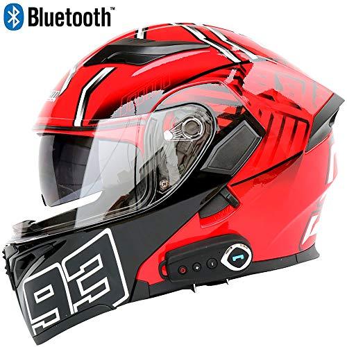Leaf&Y Modularer Bluetooth-Helm für Motorradunfälle, Automatische Antwort/FM/Musik/GPS-Navigation, Offroad-Motorrad-Integralhelm für Vier Jahreszeiten,XL