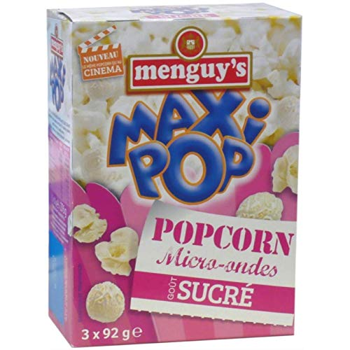 Menguy'S - Pop Corn Micro Ondes Sucre 3X92G - Lot De 4 - Livraison Rapide en France - Prix Par Lot
