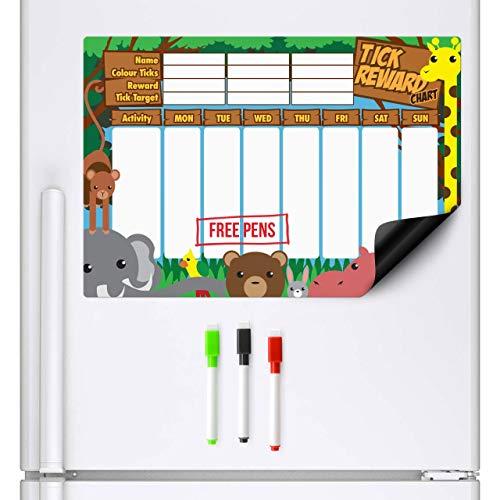 CKB Ltd Magnetischer Belohnungsdiagramm Dschungel Belohnungstafel Schließt 3 Markierungs-Stifte A3 trockenes Wischen Sie Magneten Brett-Planer-Verhalten-Diagramme Magnetisches Whiteboard Kühlschrank (Kinder Verhalten Für 2 Diagramm)