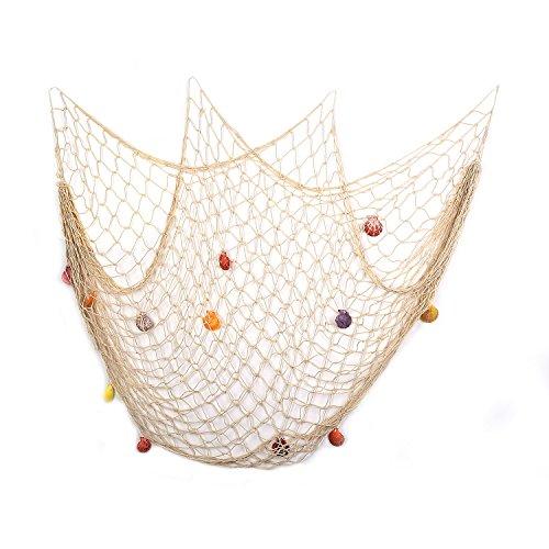 Yagote Deko-Fisch Net, mediterraner Stil Nautisches Deko Fischernetz mit Muscheln Home Decor Raum Dekoration 2mx1.5m Weiß