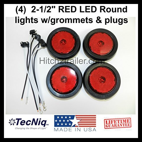 (4) LED 2.5 Round Red Clearance/side Marker Light Kit with Light Grommet and Wire Pigtail Truck Trailer Rv - Made in USA with Lifetime Warranty! by TecNiq, Inc