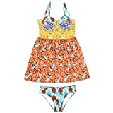 MIRRAY Damen Blumen Bedruckt Badekleid Strapsen Badebekleidungs Hohe Taille Badeanzug Bikinihose mit Pad