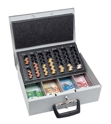 Wedo 150100837 Geldzählkassette Universa (aus Stahlblech, für Hart- und Papiergeld, mit zwei Tragegriffen und 4-Fächereinsatz für Geldscheine, 35,5 x 27,5 x 10 cm) lichtgrau
