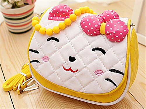 Scheppend Little Girls cute Princess Bow Strip Bead Tasche Handtasche Portemonnaie Gelb
