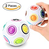 Twister.CK 2 Stücke Magic Rainbow Ball Herausfordernd Puzzle Cube Zappeln Spielzeug 3D Intelligenz Sphärische Fußball Stil Stress Entlasten Ball für Kinder