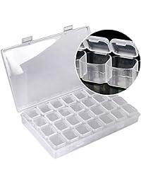Boîte de Rangement Multi-fonctions Broderie Diamant Boîte à Fente, Boîte de Rangement 5d Diamant Peinture 28 grilles
