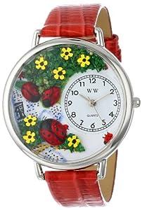 Whimsical Watches WHIMS-U1210004 - Reloj analógico de cuarzo unisex con correa de piel, color rojo de Whimsical Watches