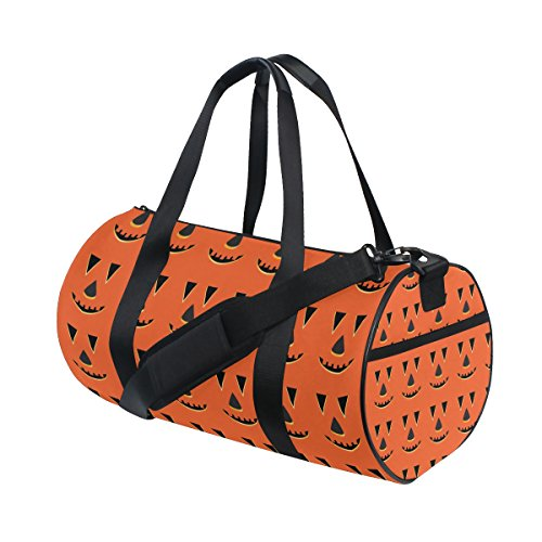 rbis Gesichter Muster Duffle Bag Handlich Sports Gym Bags Schultertasche für Männer und Frauen (Kürbis Halloween-gesichter-muster)