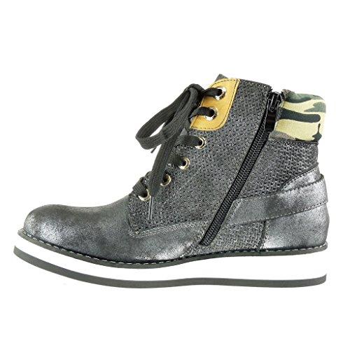 Angkorly Damen Schuhe Sneaker - Hohe - Plateauschuhe - Vintage-Stil - Geflochten - Camouflage - Schleife Keilabsatz High Heel 3.5 cm Schwarz