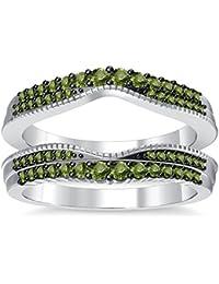 Silvernshine 14K White Gold PL Peridot Simulated Diamonds Double Row Wedding Ring Guard Enhancer