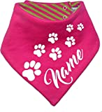 Hunde Wende-Halstuch (Fb: pink-lime) (Gr.1 - HU bis 29 cm) mit dem Namen Ihres Tieres