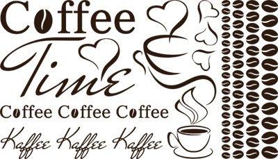 Preisvergleich Produktbild Wandtattoo Aufkleber Tattoo Set für Küche Coffee Time Kaffee Tasse Bohnen (080 braun)