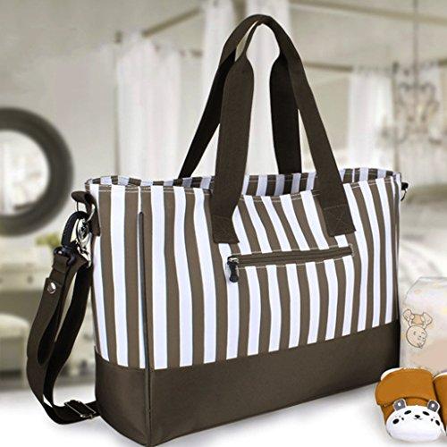 Wickeltasche Pflegetasche Kinderwagen Muttertasche Babytasche 3Pcs Set Large Capacity Mama Tote Windel-Windel-Wickeltasche Kaffee Gestreifte - schwarz, one size kaffee
