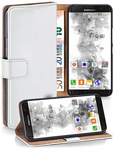 moex® Booklet mit Flip Funktion [360 Grad Voll-Schutz] für Samsung Galaxy S7 Edge | Geldfach und Kartenfach + Stand-Funktion und Magnet-Verschluss, Weiß