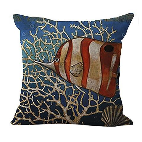 chezmax coton motif style méditerranéen en lin Housse de coussin carré Taie d'oreiller Decor + Couvre-lit décoratif taie d'oreiller 45,7x 45,7cm, Coton, Fish-1, WITHOUT FILLER
