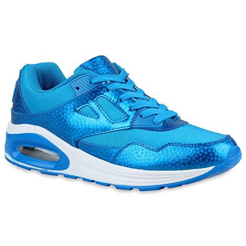 Damen Herren Unisex Laufschuhe Neon Runners Casual Schuhe Sportschuhe Blau Muster
