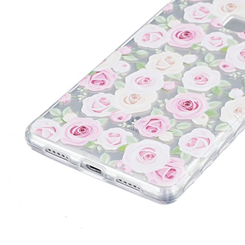 Huawei P9 Hülle, E-Lush TPU Soft Silikon Tasche Transparent Schale Clear Klar Hanytasche für Huawei P9 Durchsichtig Rückschale Ultra Slim Thin Dünne Schutzhülle Weiche Flexibel Handyhülle Kratzfeste S Rose