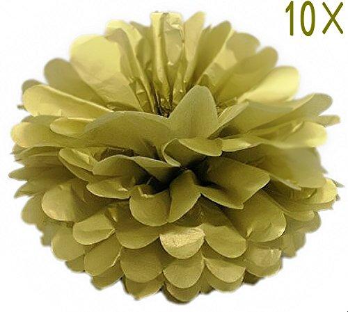 (SYOO 10x Gold Pom Pom Pompom Pompon, Durchmesser 25cm, seidenpapier Dekoration für Schlafzimmer Hochzeit Geburtstag Kinder Party Babyparty Taufe Weihnachten)
