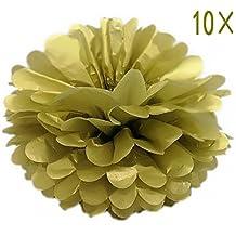SYOO 10x d'or Pom Pom Pompom Pompon, Diamètre 25cm, papier de soie Décoration pour Chambre Mariage Anniversaire Enfants Party Baby Shower Baptême de Noël
