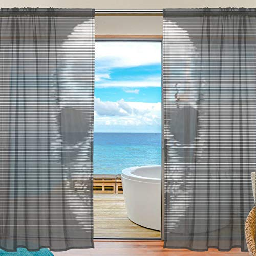 Yibaihe Mnsruu Halloween-Vorhänge mit Totenkopf-Motiv, 198 cm lang, Voile-Vorhang, Vorhänge für Wohnzimmer, Schlafzimmer, 2 Paneele
