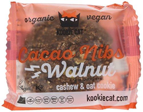 Preisvergleich Produktbild Kookie Cat Cacao nibs and walnut,  Organic vegan cachew / oat cookie,  12er Pack (12 x 0.05 kg)